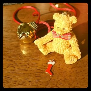 Teddy bear ornament with sterling stocking charm